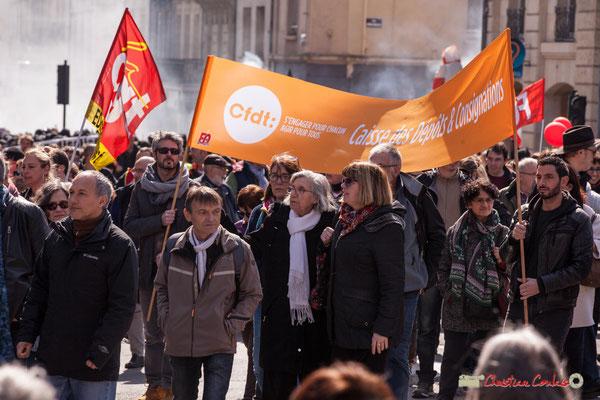 14h40 CFDT Caisse des Dépôts et Consignation. Manifestation intersyndicale de la Fonction publique/cheminots/retraités/étudiants, place Gambetta, Bordeaux. 22/03/2018