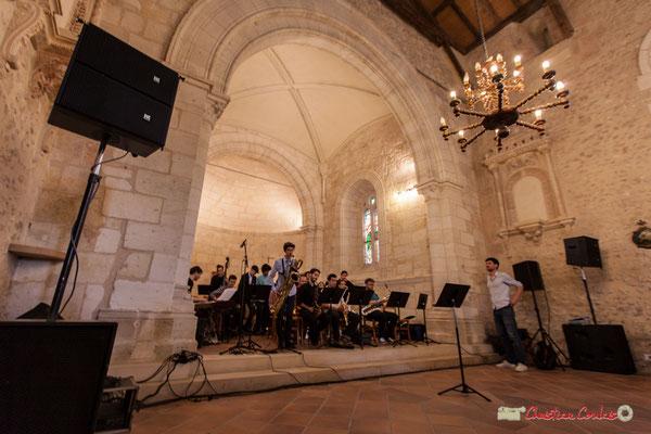 Milo Gancille; Big Band Jazz du conservatoire de Bordeaux Jacques Thibaud. Festival JAZZ360 2018, église Saint-André de Cénac. 09/06/2018