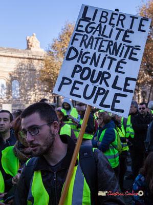 """""""Liberté, égalité, fraternité, dignité pour le peuple"""" Manifestation nationale des gilets jaunes. Place de la République, Bordeaux. Samedi 17 novembre 2018"""
