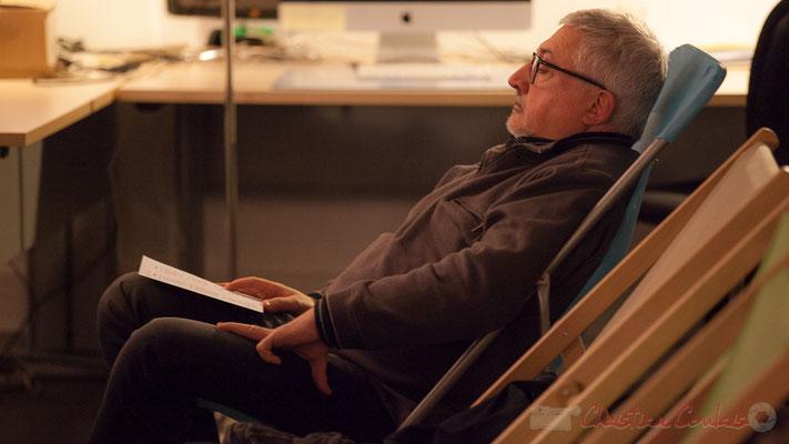 Dom Imonk, chroniqueur à Action Jazz. Le Rocher de Palmer, 12/12/2015. Reproduction interdite - Tous droits réservés © Christian Coulais