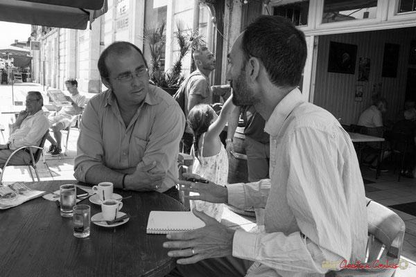 Christophe Miqueu interviewé par Gabriel Blaise, journaliste Sud-Ouest. Créon, 14 juin 2017