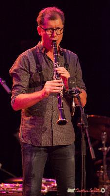 Fred Pouget, Guillaume, clarinette sib; Clax Quartet. Festival JAZZ360 2018, Cénac. 09/06/2018