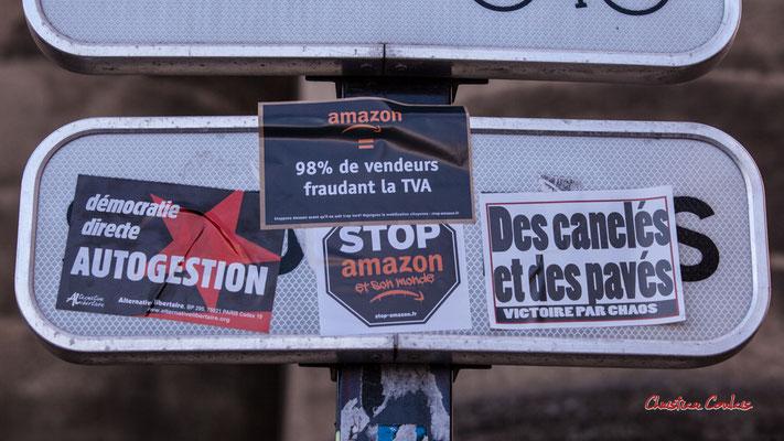 """""""Démocratie directe, autogestion"""" """"Des canelés et des pavés, victoire par chaos"""" Manifestation contre la loi Sécurité globale. Samedi 28 novembre 2020, place Bir-Hakeim, Bordeaux. Photographie © Christian Coulais"""