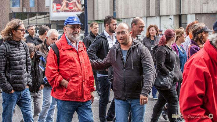 Christophe Miqueu, ex-candidat aux élections législatives sur la 12ème circonscription de la Gironde (à droite). Manifestation contre la réforme du code du travail. Rue Georges Bonnac, Bordeaux, 12/09/2017