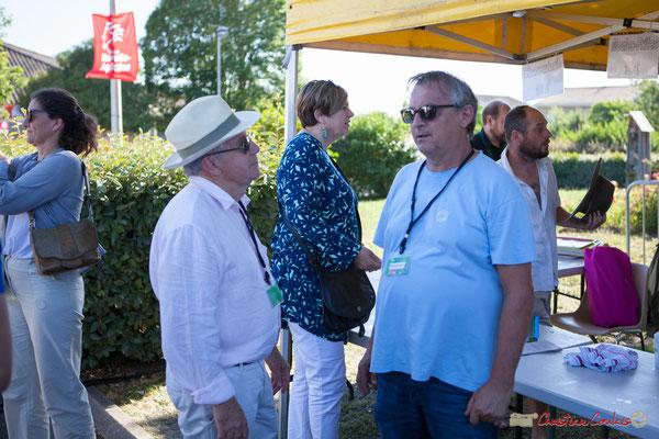 Pierre Cazenave, bénévole, Richard Raducanu, Président de l'association JAZZ360. Festival JAZZ360, 10 juillet 2017, Cénac