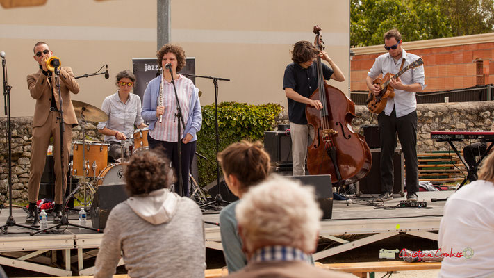 Robin Peret, Laëtitia Narel, Céline Hocquelet, Esteban Bardet, Nicolas Allard; Atelier Jazz du Conservatoire Jacques Thibaud, Festival JAZZ360 2019, Quinsac, 09/06/2019