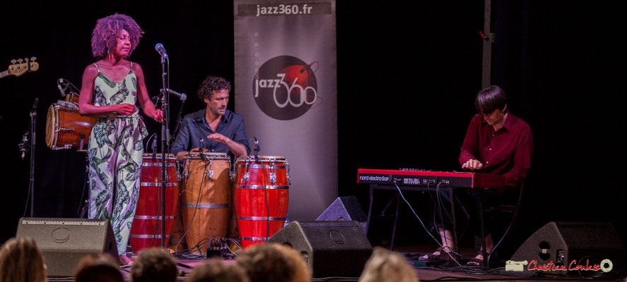 Mayomi Moreno, Lionel Galletti, Michaël Geyre; Mayomi Moreno Project. Festival JAZZ360 2018, Latresne. 10/06/2018