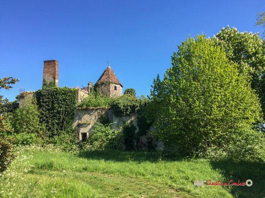 Façade ouest du Château Haut-Brignon, sans la toiture du bâtiment principal, mitoyen à la tour octogonale. Cénac, 12/04/2017