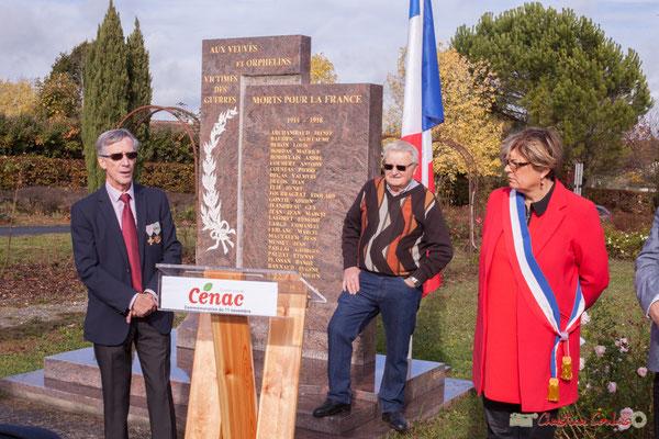 Accueil de Gérard Pointet, Président des Anciens Combattants de Cénac. Commémoration du 11 novembre 1918, 11/11/2017