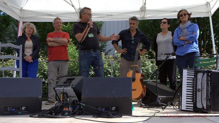 Festival JAZZ360, Richard Raducanu, Président de JAZZ360 entouré de Marie-Line Micheau-Héraud, Bernard Capdepuy, Vincent Michelet, Marie-Angèle Rey, Sandrine Salier, élu-es