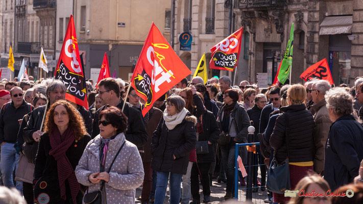 14h52 CGT Educ'Action. Manifestation intersyndicale de la Fonction publique/cheminots/retraités/étudiants, place Gambetta, Bordeaux. 22/03/2018
