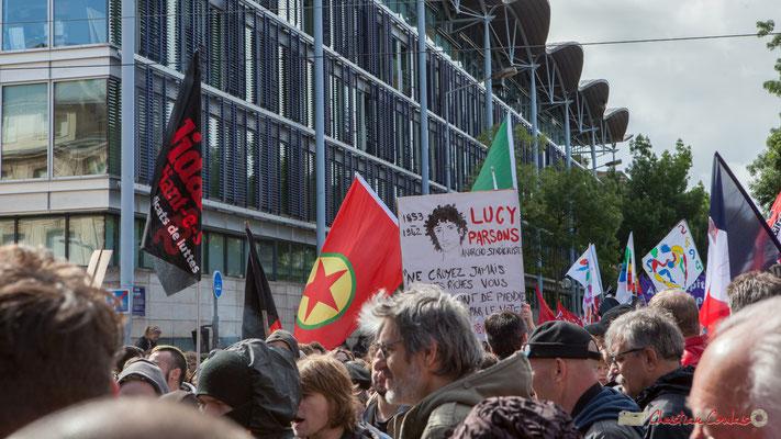"""""""Lucy Parsons, anarcho-syndicaliste, 1853-1942"""" Manifestation du 1er mai 2017, avec la France Insoumise, cours d'Albret, Bordeaux"""