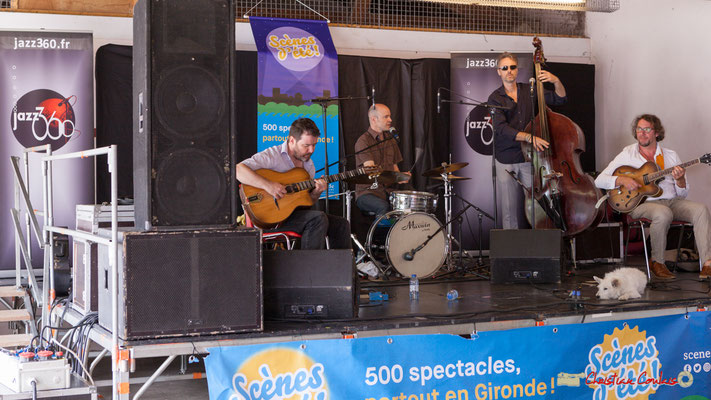 Gadjo & Co : Arnaud Bouquin, Valery Haumont, Denis Joëssel, Paul Kurkdjian. Festival JAZZ360 2018, Camblanes-et-Meynac. 09/06/2018