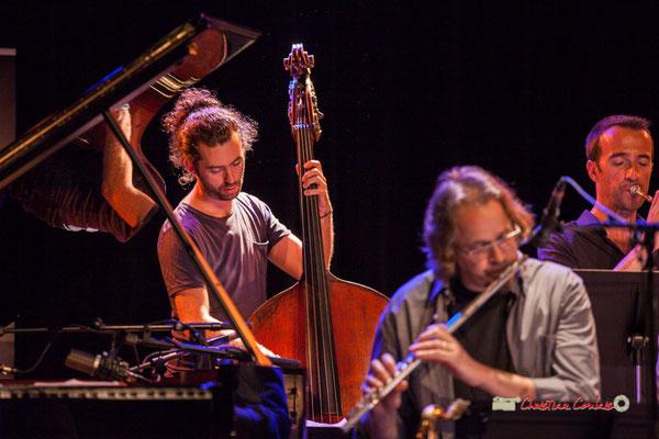 Simon Tailleu, Stéphane Guillaume, Sylvain Gontard; Medium Ensemble 3 de Pierre de Bethmann. Festival JAZZ360 2019, Cénac. 07/06/2019