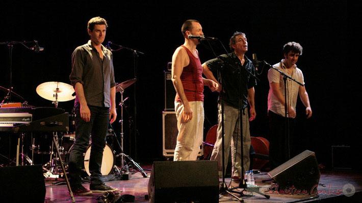 """Franck Woeste, Médéric Collignon, Philippe Gleizes, Frédéric Chaffoleau; Médéric Collignon """"Jus de Bocse"""". Festival JAZZ360 2011, Cénac. 04/06/2011"""