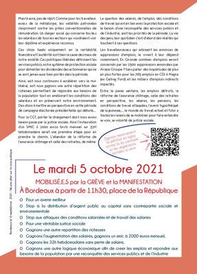 Tract syndical C.G.T. page 2, manifestation du mardi 5 octobre 2021