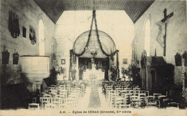 Intérieur de l'église Saint-André 1923. Cénac d'antan. Collection Jean-Pierre Couthouis