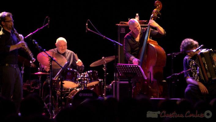 """Emile Parisien, Daniel Humair, Jérôme Regard, Vincent Peirani; Daniel Humair Quartet """"Sweet & Sour"""", Festival JAZZ360 2013, Cénac, 08/06/2013"""