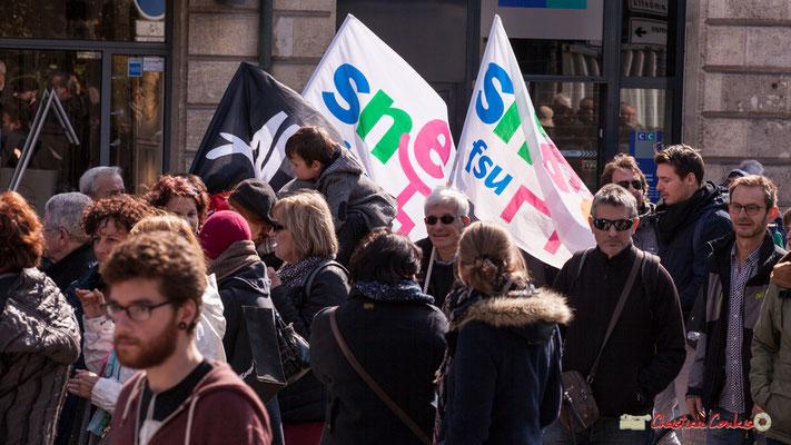 15h02 AL; SNES FSU. Manifestation intersyndicale de la Fonction publique/cheminots/retraités/étudiants, place Gambetta, Bordeaux. 22/03/2018