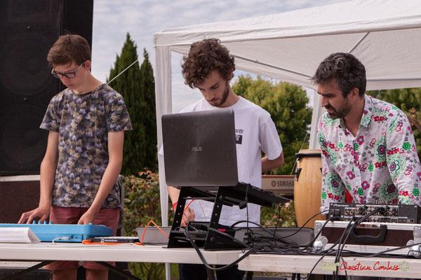 Thomas, Lucas, Franck Martin, animateur de l'Atelier Electro Jazz, association AMAC. Festival JAZZ2018, Cénac. 08/06/2018