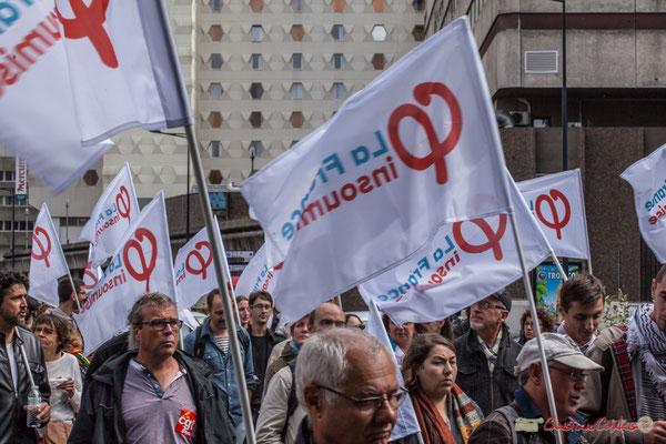 """""""Une boucle de parcours un peu glauque autour de Mériadeck, en direction d'un cimetière !"""" Manifestation contre la réforme du code du travail. Rue Georges Bonnac, Bordeaux, 12/09/2017"""