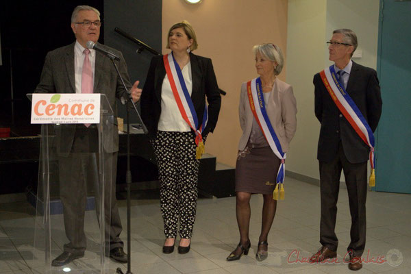 Jean-Marie Darmian, Vice-président du Conseil départemental de la Gironde, s'exprime aussi au nom de Martine Faure, Députée de la Gironde; Honorariat des anciens Maires de Cénac, vendredi 3 avril 2015