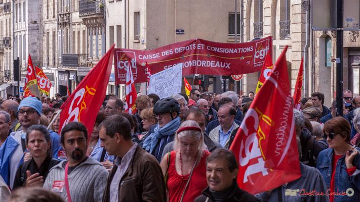 C.G.T Caisse des Dépôts et Consignations. Manifestation intersyndicale de la Fonction publique, place Gambetta, Bordeaux. 10/10/2017