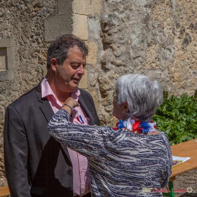 Daniel Barbe, Maire de Blasimon. Tous avec Martine...Faure et Jean-Marie Darmian pour fêter 10 ans de députation et un jubilé d'engagements politiques. 14 mai 2017, Blasimon