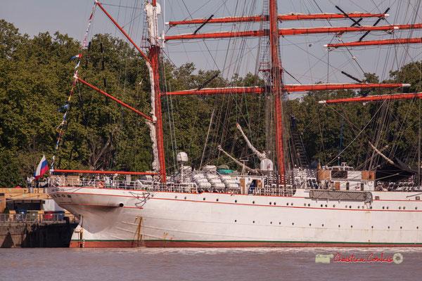 Poupe du STS Sedov, quatre-mâts barque de 117 m. C'est le plus grand voilier russe et le plus grand voilier navire-école du monde. Bordeaux, 22/06/2019 Reproduction interdite - Tous droits réservés © Christian Coulais