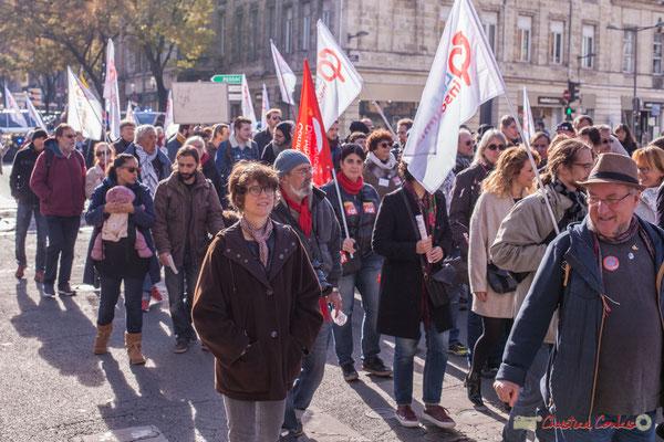 150 à 200 militants de la France insoumise ont répondu présents. Manifestation intersyndicale contre les réformes libérales de Macron. Cours d'Albret, Bordeaux, 16/11/2017