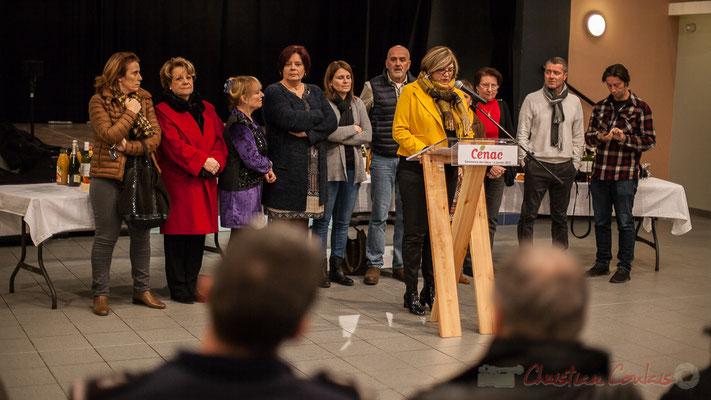 06/01/2017. Catherine Veyssy, Vice-présidente du Conseil régional, Maire de Cénac, en présence de dix adjoint-es et Conseillers-ères municipaux