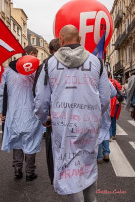 """""""CHU en colère, l'hôpital ferme"""" Manifestation intersyndicale, Bordeaux, mardi 5 octobre 2021. Photographie © Christian Coulais"""