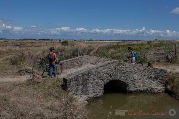 Balade cycliste par un pont enjambant le canal des marais salants de l'Île de Noirmoutier entre l'Epine et Noimoutier en l'Île, Vendée, Pays de la Loire