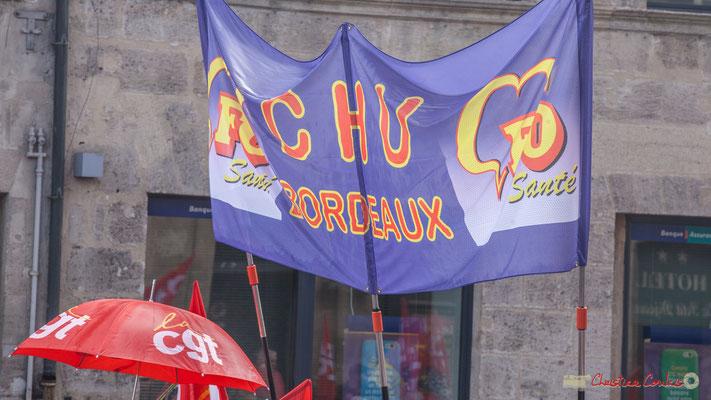 FO Santé CHU Bordeaux. Manifestation contre la réforme du code du travail. Place Gambetta, Bordeaux, 12/09/2017