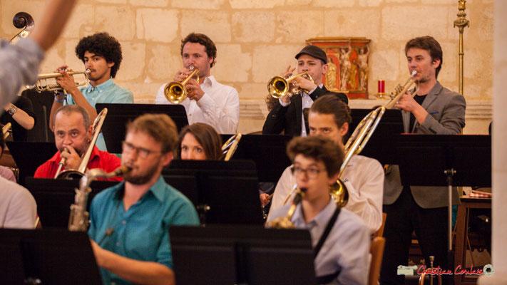 Loïc Guénnéguez, Louis Gachet, Robin Péret, Paolo Chatet; Big Band Jazz du conservatoire de Bordeaux Jacques Thibaud. Festival JAZZ360 2018, Cénac. 09/06/2018