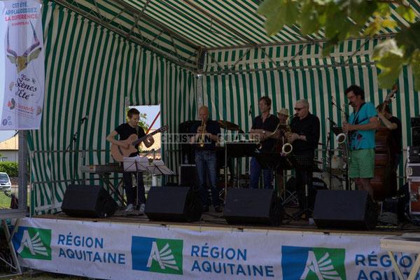 Festival JAZZ360 2014, Jordan Cauvin, Alain Duffort, Thierry Taveaux, Philippe Cauvin, Rémy Brown, Grat Martinez; Jazzméléon Trafic. Cénac, 07/06/2014
