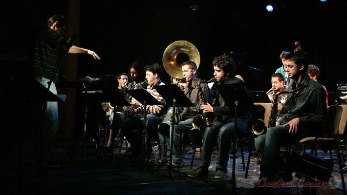 Ligne de cuivres. Big Band du Conservatoire Jacques Thibaud, section Musiques Actuelles Amplifiées-Jazz. Festival JAZZ360 2010, Cénac. 14/05/2010