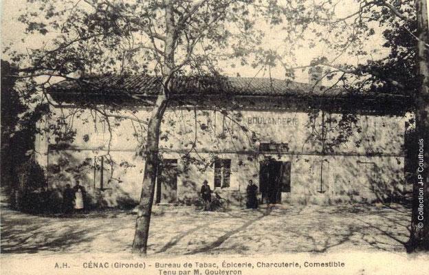 Le bourg, bureau de tabac, épicerie, charcuterie, comestible 1916-1921. Cénac d'antan. Collection Jean-Pierre Couthouis