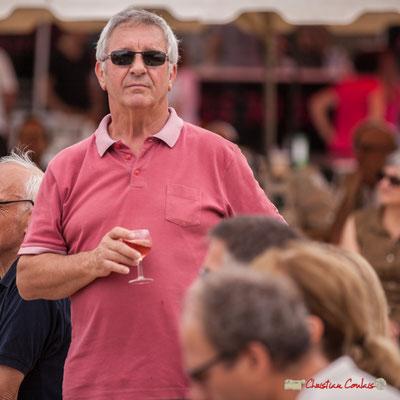 Bernard Capdepuy, élu organisateur, décompresse au Clairet de Quinsac. Shob & Friends. Festival JAZZ360 2018, Quinsac. 10/06/2018