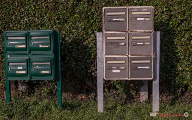 Une excellente idée, le regroupement des boîtes à lettre, des 4 nouvelles constructions, en face avec celles des maison du chemin de Peybotte, Lignan-de-Bordeaux. 17/10/2017