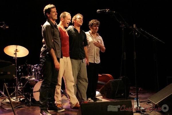"""Franck Woeste, Médéric Collignon, Philippe Gleizes, Frédéric Chiffoleau; Médéric Collignon """"Jus de Bocse"""". Festival JAZZ360 2011, Cénac. 04/06/2011"""