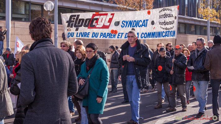FILPAC / CGT Syndicat du livre, du papier et de la communication. Manifestation intersyndicale contre les réformes libérales de Macron. Cours d'Albret, Bordeaux, 16/11/2017