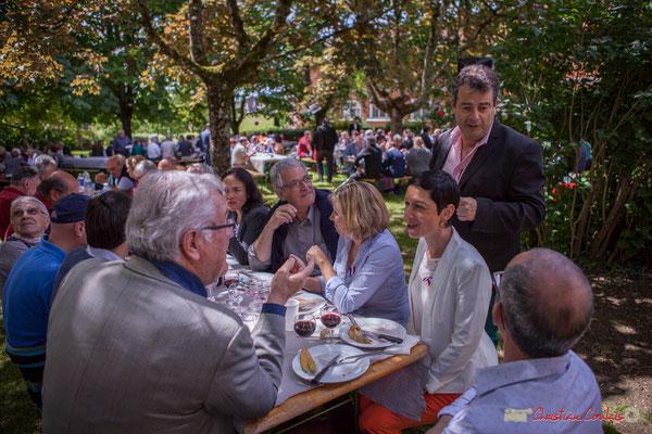 Jean-Marie Darmian, Pierre Gachet, Mme Sanchis, Daniel Barbes, Angélique Rodriguez, Conseillère municipale de Créon. 14 mai 2017, Blasimon