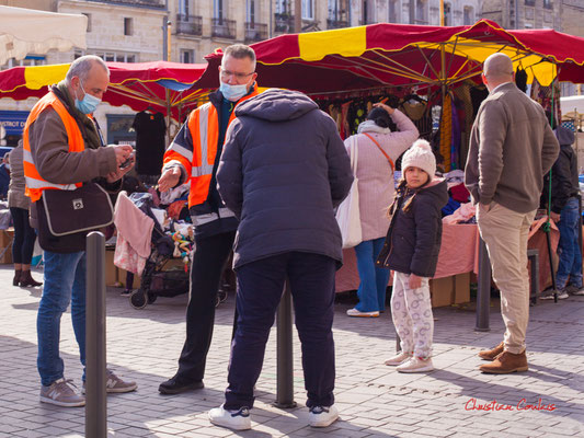 """""""Placiers Bordeaux Métropole"""" Marché Saint-Michel, Bordeaux. Samedi 6 mars 2021. Photographie © Christian Coulais"""