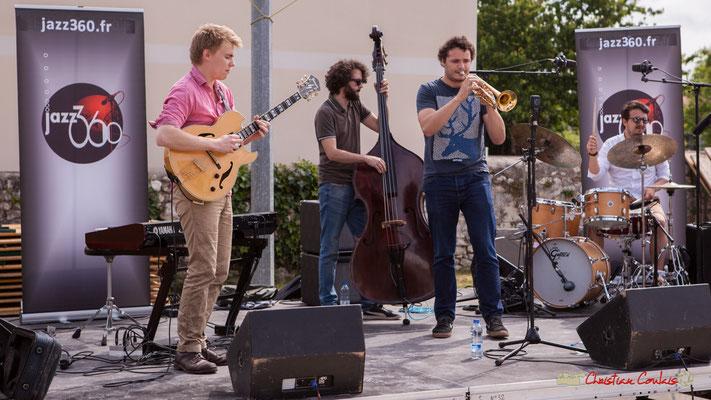 Thomas Gaucher, Louis Laville, Louis Gachet, Nicolas Girardi; Atelier jazz du conservatoire Jacques Thibaud. Festival JAZZ360, Quinsac. 10/06/2018