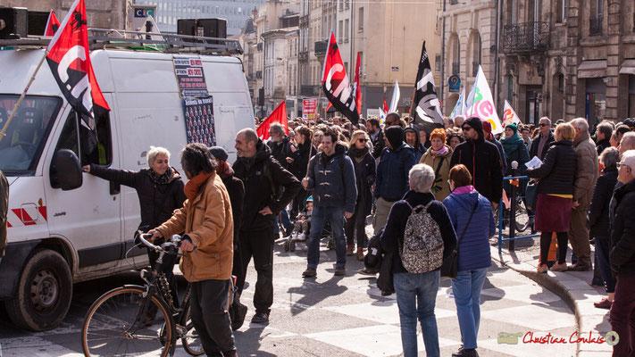 15h00 C.N.T. Manifestation intersyndicale de la Fonction publique/cheminots/retraités/étudiants, place Gambetta, Bordeaux. 22/03/2018