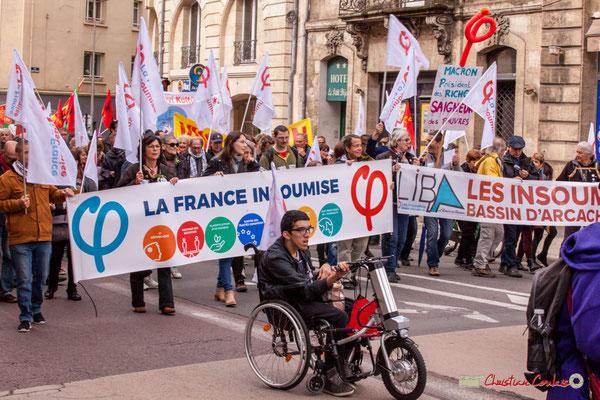 10h59 Arrivée du cortège la France insoumise, rue du Docteur Nancel-Pénard-place Gambetta, Bordeaux. 01/05/2018