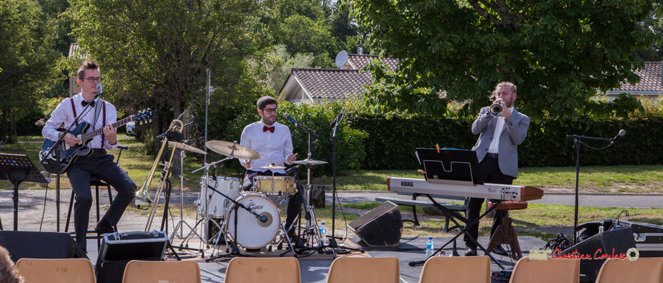 Julien Jolis, Julien Lavie, José Baloche; Jujubees Swing Combo. Festival JAZZ360, Cénac. 08/06/2019