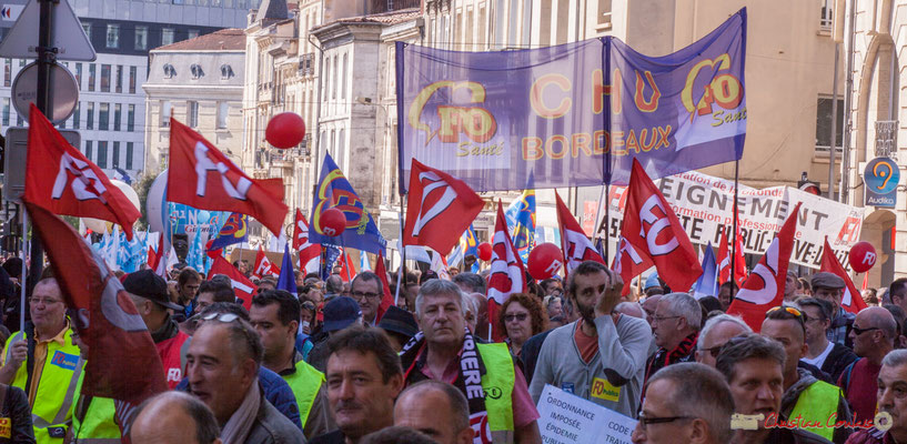 F.O. C.H.U. Bordeux. Manifestation intersyndicale de la Fonction publique, place Gambetta, Bordeaux. 10/10/2017