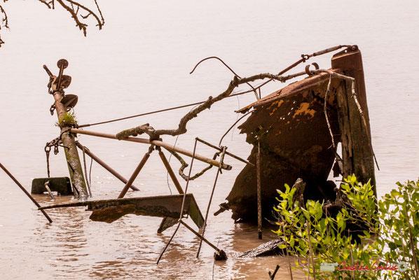 Epave de bateau à l'est de l'île. Parcours de découverte de la roselière de l'Île Nouvelle, Gironde. 06/05/2018